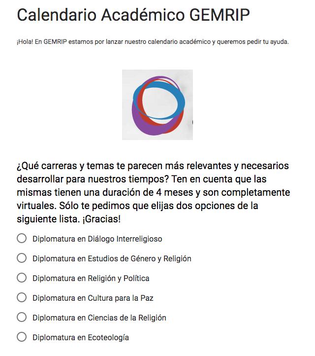 Encuesta: Calendario Académico GEMRIP