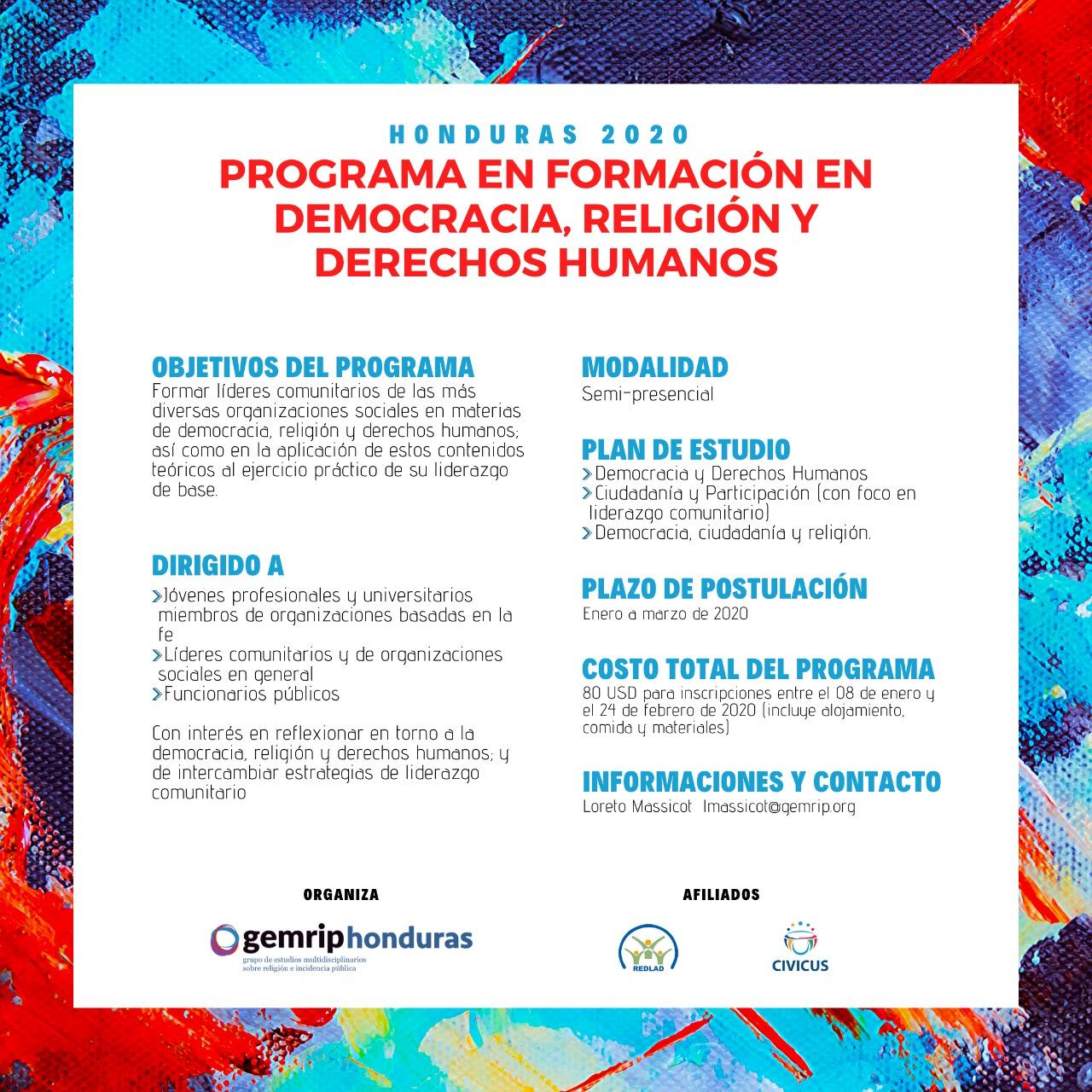 HONDURAS: PROGRAMA DE FORMACIÓN EN DEMOCRACIA, RELIGIÓN Y DERECHOS HUMANOS